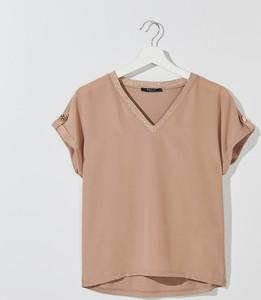 Brązowa bluzka Mohito w stylu casual z krótkim rękawem