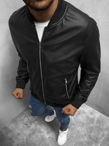 Czarna kurtka Ozonee w stylu casual ze skóry