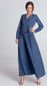 Niebieska sukienka Nife z bawełny z dekoltem w kształcie litery v maxi