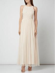 Różowa sukienka Lace & Beads z okrągłym dekoltem z tiulu maxi
