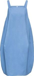 Niebieska sukienka bonprix RAINBOW bombka midi bez rękawów