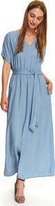 Sukienka Top Secret z dekoltem w kształcie litery v maxi z krótkim rękawem