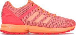 Różowe buty sportowe Adidas ze skóry zx flux