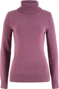 Fioletowy sweter bonprix bpc bonprix collection bez wzorów