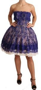 Fioletowa sukienka Dolce & Gabbana mini bez rękawów