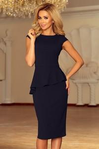 Czarna sukienka NUMOCO z okrągłym dekoltem z krótkim rękawem