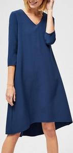 Sukienka Moodo midi z długim rękawem z dekoltem w kształcie litery v