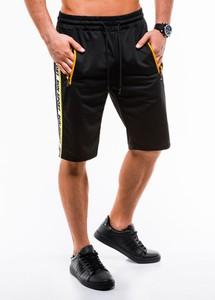 Czarne spodenki Edoti z dresówki w sportowym stylu