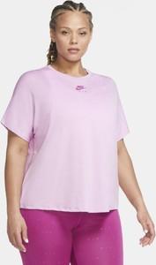 Różowy t-shirt Nike w sportowym stylu z okrągłym dekoltem z krótkim rękawem