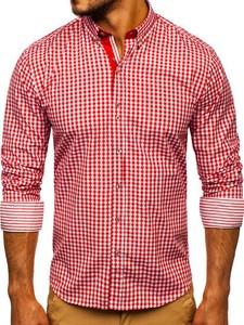 Czerwona koszula Denley z bawełny z kołnierzykiem button down