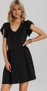 Czarna sukienka Renee z krótkim rękawem z dekoltem w kształcie litery v mini