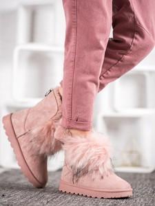 Różowe śniegowce Czasnabuty z płaską podeszwą