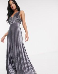 Srebrna sukienka Asos Design z dekoltem w kształcie litery v na ramiączkach