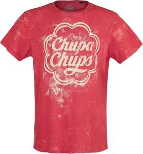 Czerwony t-shirt Emp z krótkim rękawem z bawełny w młodzieżowym stylu