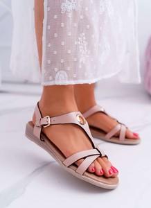 Różowe sandały S.Barski z płaską podeszwą z klamrami