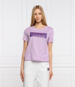 Fioletowy t-shirt Guess w stylu casual z okrągłym dekoltem