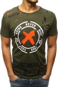 Zielony t-shirt Dstreet w młodzieżowym stylu z bawełny z krótkim rękawem