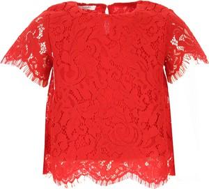 Czerwona bluzka dziecięca Liu-Jo z krótkim rękawem z bawełny