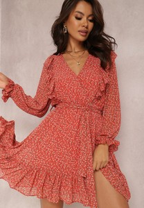 Czerwona sukienka Renee z dekoltem w kształcie litery v