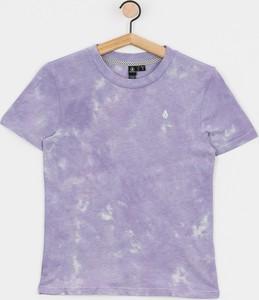 Fioletowy t-shirt Volcom z bawełny z krótkim rękawem z okrągłym dekoltem