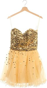 Żółta sukienka Maggie Tang rozkloszowana