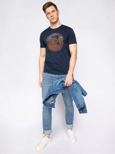 Granatowy t-shirt Trussardi Jeans z krótkim rękawem
