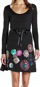 Sukienka Desigual z okrągłym dekoltem z długim rękawem mini