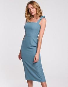 Niebieska sukienka Makover z tkaniny