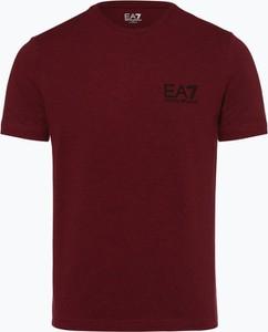 Czerwony t-shirt EA7 Emporio Armani w stylu casual z krótkim rękawem