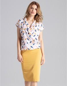 Żółta spódnica Figl z tkaniny