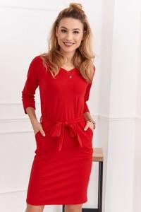 Sukienka Fasardi dopasowana z dekoltem w kształcie litery v