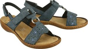 Niebieskie sandały Rieker na rzepy w stylu casual