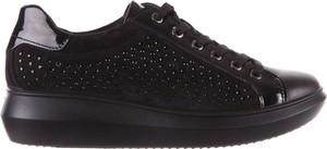 Czarne buty sportowe Imac z zamszu sznurowane na platformie