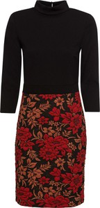 Czarna sukienka bonprix BODYFLIRT boutique midi dopasowana z golfem