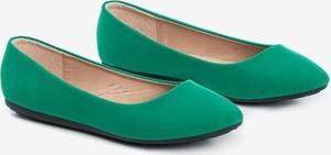 Zielone baleriny Royalfashion.pl ze skóry w stylu casual z płaską podeszwą