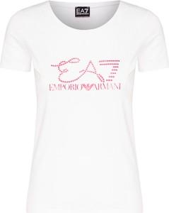 T-shirt EA7 Emporio Armani z tkaniny z krótkim rękawem w młodzieżowym stylu