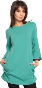 Zielona tunika Be z długim rękawem z dresówki