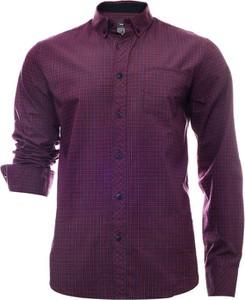 Fioletowa koszula Just yuppi z długim rękawem w stylu casual z kołnierzykiem button down