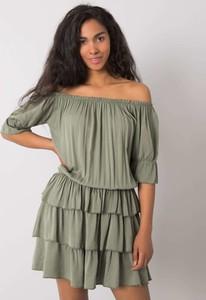 Zielona sukienka Sheandher.pl w stylu casual z długim rękawem hiszpanka