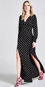 Czarna sukienka Guess z dekoltem w kształcie litery v z długim rękawem maxi