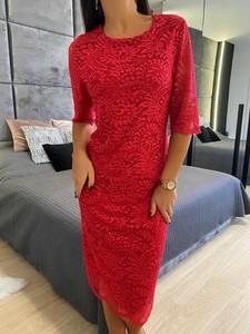 Czerwona sukienka ModnaKiecka.pl mini z okrągłym dekoltem
