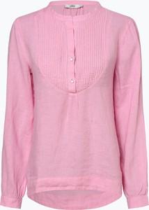 Różowa bluzka 0039 Italy w stylu casual z długim rękawem z lnu