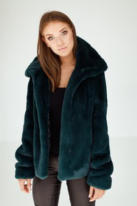 Zielona kurtka Smoke Furs w stylu casual ze skóry ekologicznej