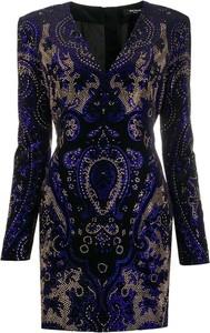 Niebieska sukienka Balmain z długim rękawem mini