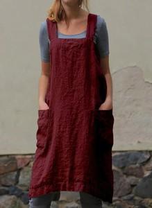 Czerwona sukienka Arilook w stylu boho z długim rękawem