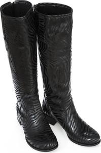 Czarne kozaki Zapato przed kolano na obcasie w stylu casual