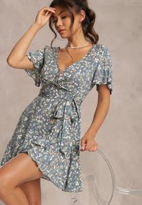 Niebieska sukienka Renee mini kopertowa z krótkim rękawem