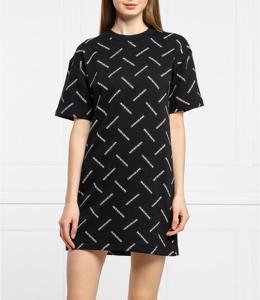 Czarna sukienka Calvin Klein z krótkim rękawem mini