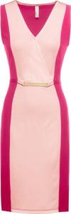 Różowa sukienka bonprix BODYFLIRT boutique midi bez rękawów