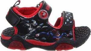 Czarne buty dziecięce letnie Batman dla chłopców na rzepy
